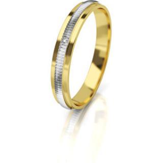Art Diamond Dámský bicolor snubní prsten ze zlata s diamantem AUG328 56 mm dámské