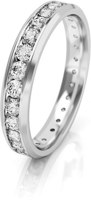 Art Diamond Dámský snubní prsten z bílého zlata se zirkony AUGDR001 56 mm dámské