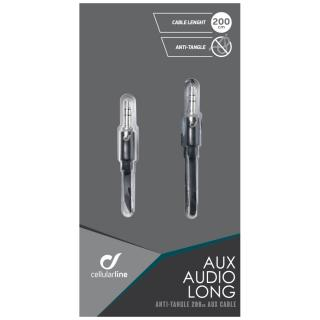 Audio kabel CELLULARLINE AUX AUDIO LONG, plochý, 2x 3,5mm jack, 2m, černý