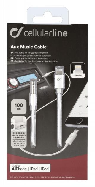Audio kabel Cellularline Aux Music Cable, konektory Ligtning 3,5 mm jack, bílý