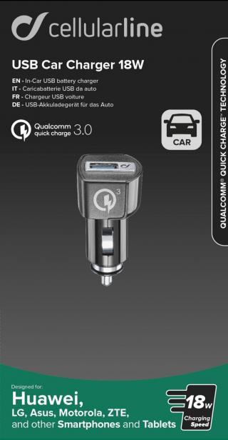 Autonabíječka CellularLine Qualcomm® Quick Charge 3.0, 18W, USB výstup, černá