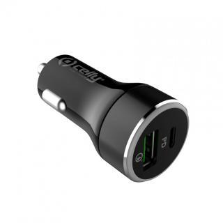 Autonabíječka CELLY s USB-C (PD) a USB Qualcomm 3.0, 30W max, černá