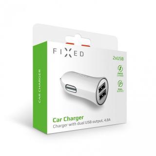 Autonabíječka FIXED s 2xUSB výstupem, 24W , bílá