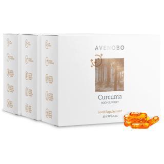 Avenobo Kurkuma | 3 balení | Kurkuma kapsle v micelární formě – 185x lepší biologická dostupnost, obohacená o vitamín D3 | 3x 30 kapslí – na 3 měsíce