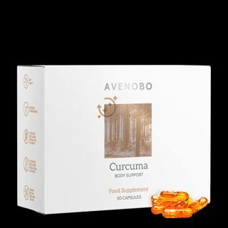 Avenobo Kurkuma: se silným protizánětlivým účinkem, který trvá 24 hodin denně. Obsahuje 30 kapslí na 15–30 dní.