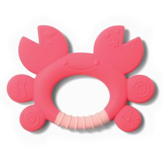 BABY ONO Kousátko silikonové krab Don 6m  růžová