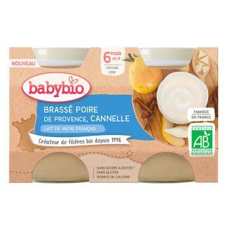 BABYBIO Brassé hruška skořice 2x130 g oranžová