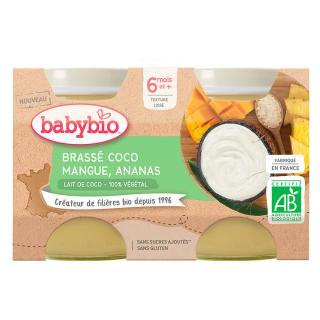 BABYBIO Brassé z kokosového mléka mango ananas 2x130 g oranžová