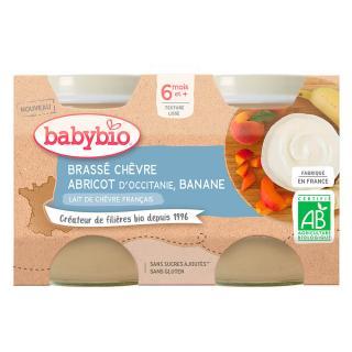 BABYBIO Brassé z kozího mléka meruňka banán 2x130 g oranžová