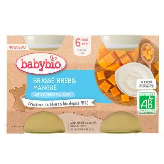 BABYBIO Brassé z ovčího mléka mango 2x130 g oranžová