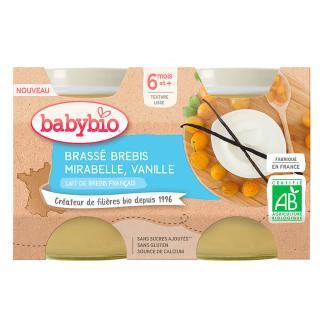 BABYBIO Brassé z ovčího mléka mirabelky vanilka 2x130 g oranžová