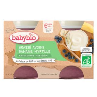 BABYBIO Brassé z ovesného mléka banán borůvka 2x130 g oranžová