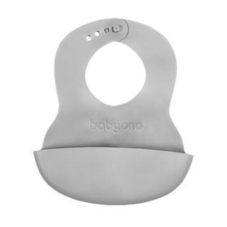 BABYONO Bryndák měkký plastový s kapsou bez BPA šedý 6 m  šedá