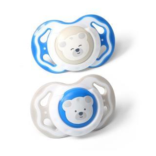 BABYONO Dudlík silikonový 2 ks 6-18m  bear modrá