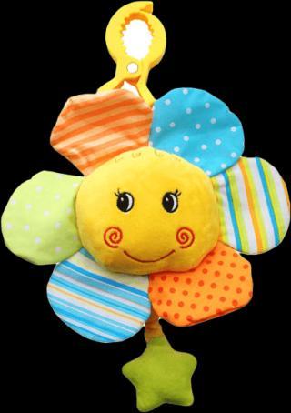 BABYONO Hračka hudební na klipu – Květinka 0 m  žlutá