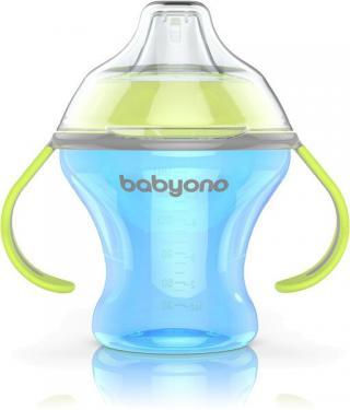 BABYONO Hrnek netekoucí s měkkým náustkem Natural Nursing 180 ml - modrá
