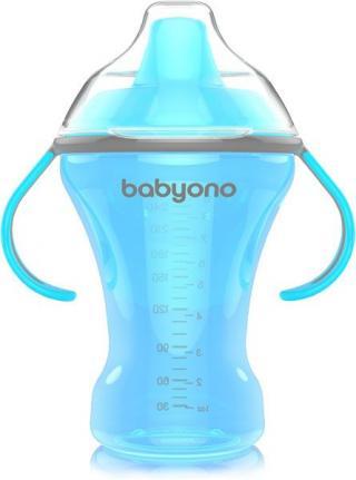 BABYONO Hrnek netekoucí s tvrdým náustkem Natural Nursing 260 ml - modrá