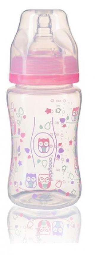 BABYONO Kojenecká antikoliková láhev široké hrdlo 240 ml – ružová růžová