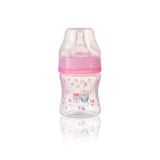 BABYONO Kojenecká antikoliková láhev široké hrdlo růžová 120 ml 0 m