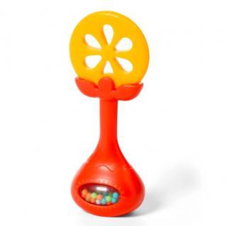 BABYONO Kousátko edukační s chrastítkem - pomeranč oranžová