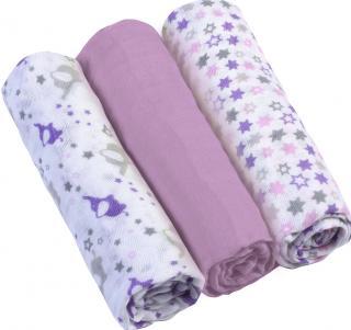 BABYONO Pleny mušelínové Super soft 3 ks – Fialové fialová