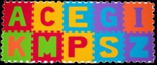 BABYONO Puzzle pěnová písmena 10 ks mix barev