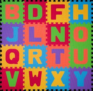 BABYONO Puzzle pěnová písmena 16 ks mix barev