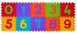 BABYONO Puzzle pěnové čísla 10 ks  mix barev