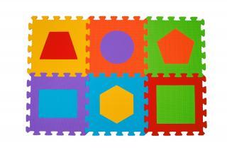 BABYONO Puzzle pěnové tvary 6 ks mix barev
