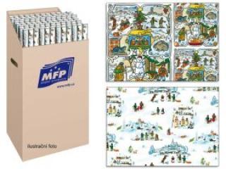 Balící papír vánoční role klasik LADA 2x100x70