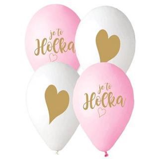 Balónek s českým potiskem je to holka! - růžová a bílá - 30 cm - 5 ks
