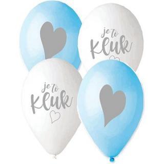 Balónek s českým potiskem je to kluk! - modrá a bílá - 30 cm - 5 ks