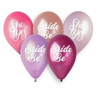 Balónky latexové 33 cm - bride to be - she said yes - rozlučka se svobodou - 5 ks