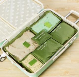 Barevné cestovní organizéry do kufru - 6 ks Barva: zelená