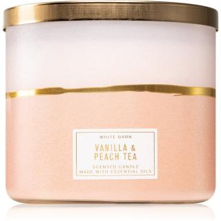 Bath & Body Works Vanilla & Peach Tea vonná svíčka 411 g 411 g