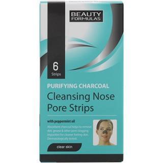 BEAUTY FORMULAS Čistící pásky na nos s aktivním uhlím 6 ks