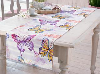 Běhoun na stůl motýli, 140 x 40 cm