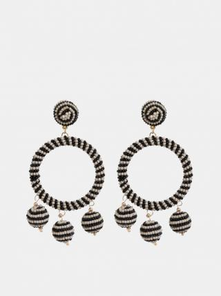 Beige-Black Beaded Earrings Pieces Caroline černá One size