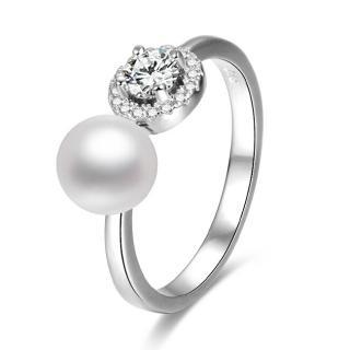 Beneto Otevřený stříbrný prsten se zirkony a perlou AGG339 S  dámské