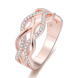 Beneto Růžově pozlacený stříbrný prsten se zirkony AGG333 60 mm dámské