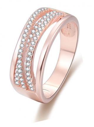 Beneto Růžově pozlacený stříbrný prsten se zirkony AGG340 52 mm dámské