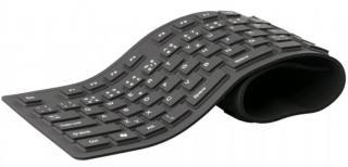 Bezdrátová klávesnice klávesnice c-tech fk-01, gelová, flexibilní, černá, cz/sk