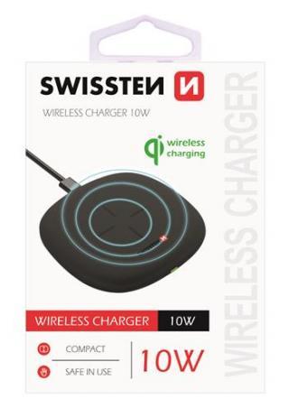 Bezdrátová nabíječka Swissten Wireless 10W, černá