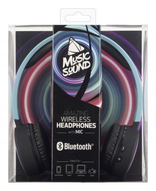 Bezdrátová sluchátka MUSIC SOUND s hlavovým mostem a mikrofonem, světle modrá