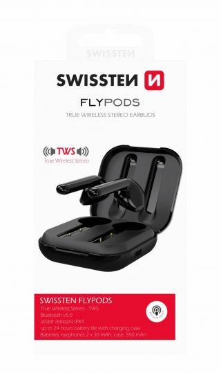 Bezdrátová TWS sluchátka Swissten Flypods, černá