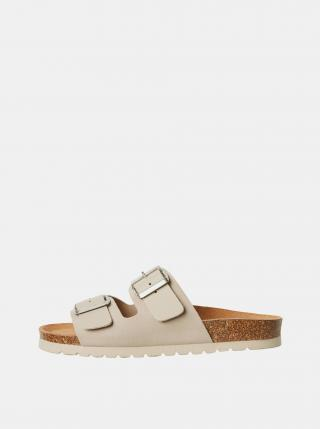 Béžové kožené pantofle VERO MODA Carla dámské béžová 36