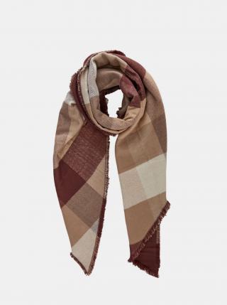 Béžovo-hnědý kostkovaný šátek Pieces dámské hnědá