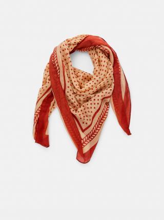 Béžovo-hnědý vzorovaný šátek Pieces Lulan dámské hnědá