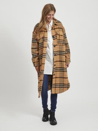 Béžovo-oranžový kostkovaný vlněný kabát .OBJECT Lola dámské oranžová L