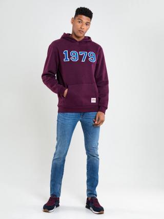 Big Star Mans Hooded Sweatshirt 174253 Burgundy-604 pánské Red M